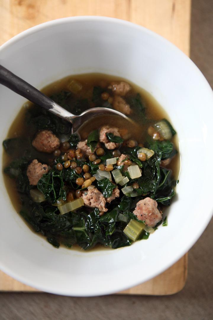 Kale, sausage, lentil soup