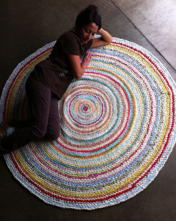 crocheted fabric rug